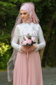 Tesettürlü Abiye Elbise - Eteği Pliseli Pudra Tesettür Abiye Elbise 7722PD - Thumbnail