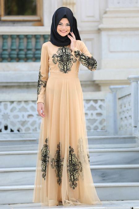 Tesettürlü Abiye Elbise - Eteği Tül Detaylı Gold Tesettür Abiye Elbise 6387GOLD