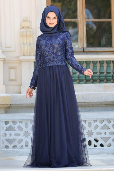 Tesettürlü Abiye Elbise - Eteği Tüllü Lacivert Tesettür Abiye Elbise 7554L