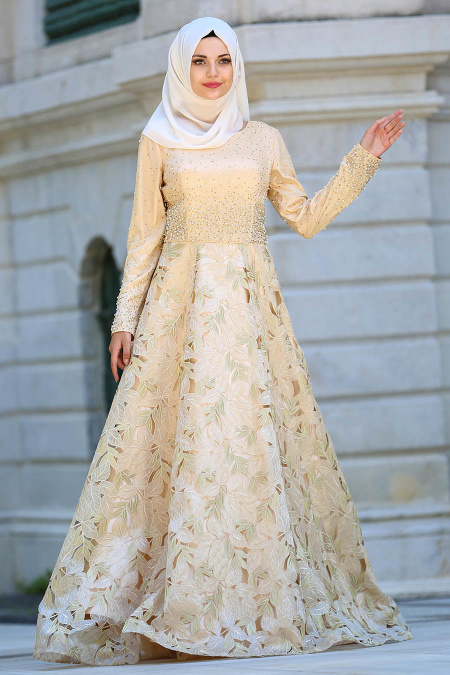 Tesettürlü Abiye Elbise - Eteği Yapraklı Gold Tesettür Abiye Elbise 4490GOLD