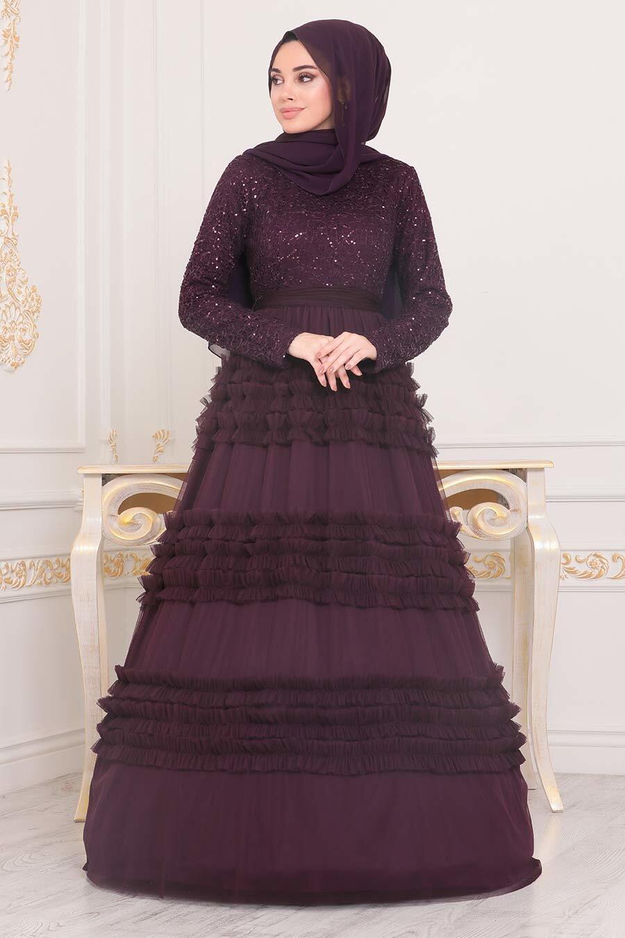 Tesettürlü Abiye Elbise - Fırfır Detaylı Mürdüm Tesettür Abiye Elbise 25770MU