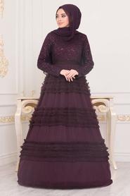 Tesettürlü Abiye Elbise - Fırfır Detaylı Mürdüm Tesettür Abiye Elbise 25770MU - Thumbnail