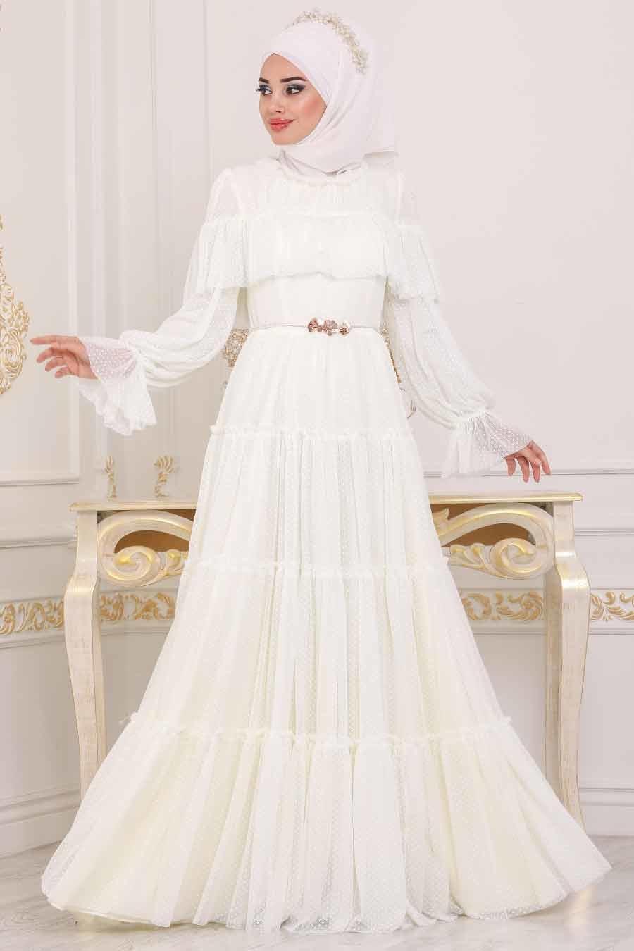 Tesettürlü Abiye Elbise - Fırfırlı Ekru Tesettür Abiye Elbise 3975E