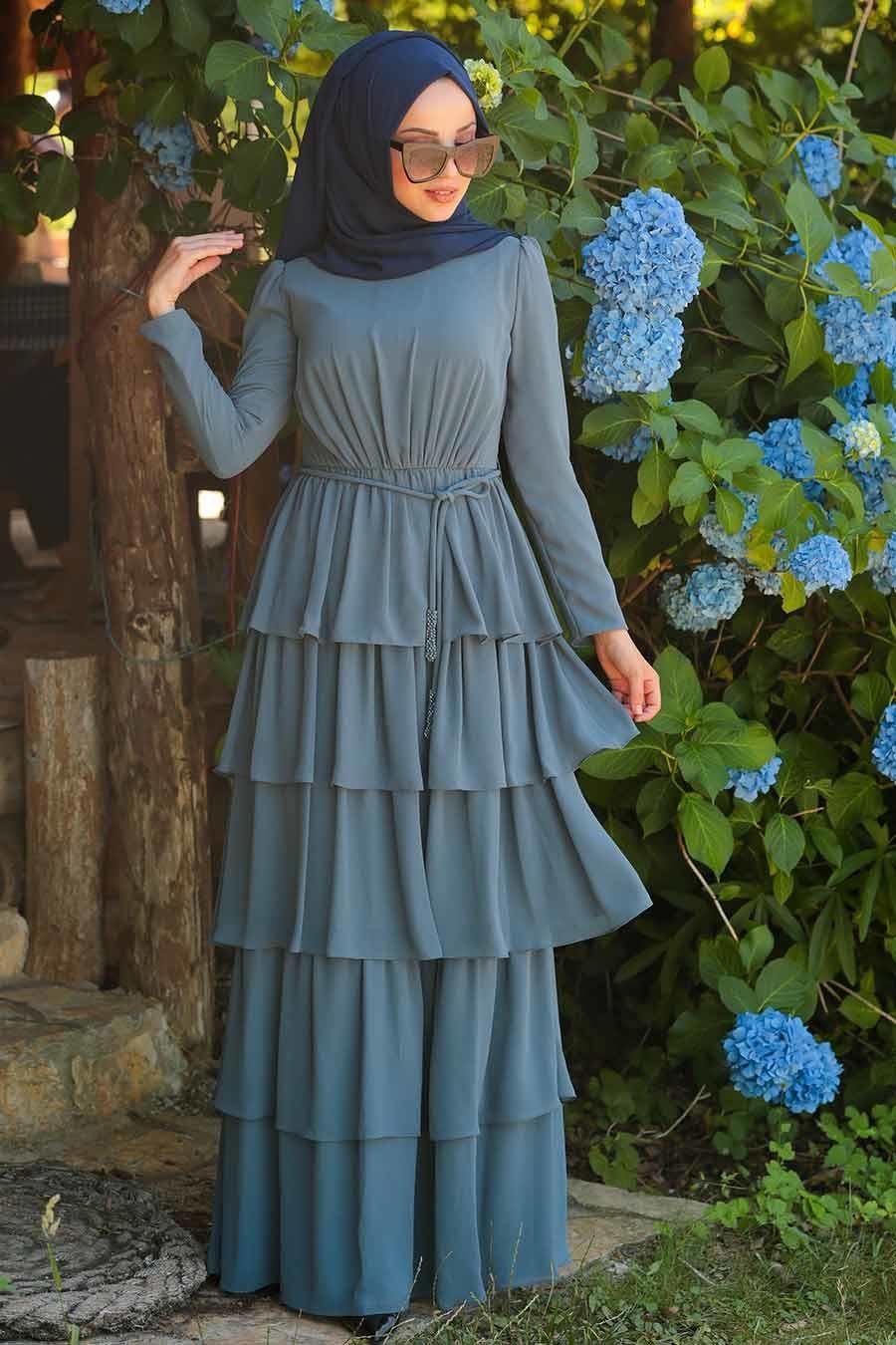 Tesettürlü Abiye Elbise - Fırfırlı İndigo Mavisi Tesettür Abiye Elbise 3944IM