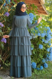 Tesettürlü Abiye Elbise - Fırfırlı İndigo Mavisi Tesettür Abiye Elbise 3944IM - Thumbnail
