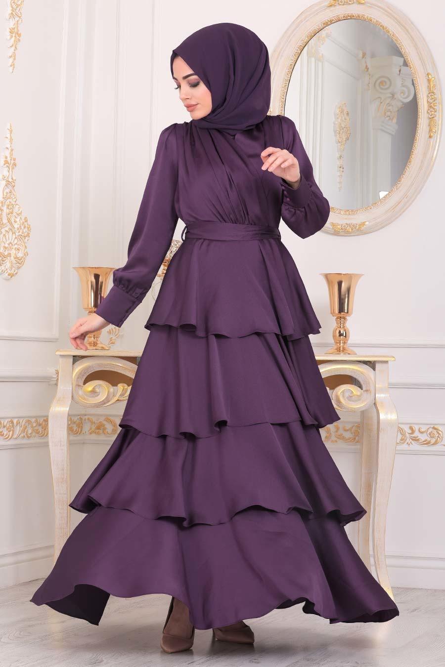 Tesettürlü Abiye Elbise - Fırfırlı Krep Saten Mor Tesettür Abiye Elbise 22701MOR