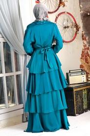 Tesettürlü Abiye Elbise - Fırfırlı Krep Saten Petrol Yeşili Tesettür Abiye Elbise 22701PY - Thumbnail