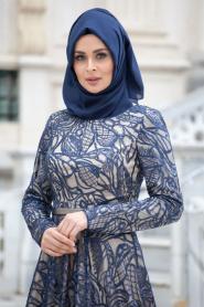 Tesettürlü Abiye Elbise - Flok Baskılı Lacivert Abiye Tesettür Elbise 4218L - Thumbnail