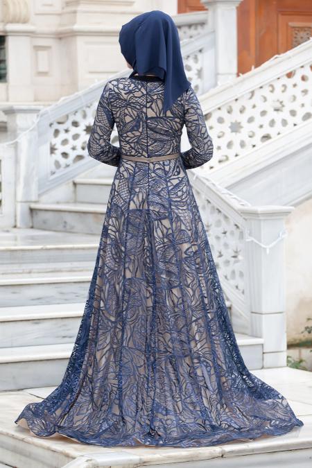 Tesettürlü Abiye Elbise - Flok Baskılı Lacivert Abiye Tesettür Elbise 4218L