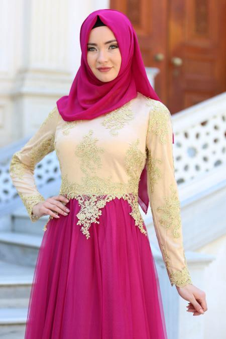 Tesettürlü Abiye Elbise - Gold Dantelli Fuşya Tesettür Abiye Elbise 7496F