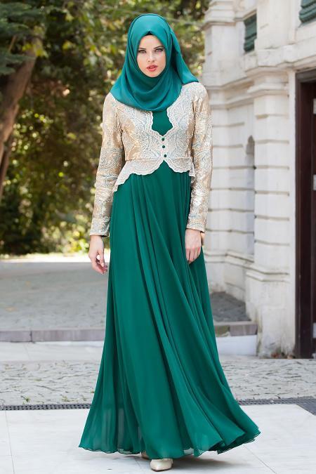 Tesettürlü Abiye Elbise - Gold Dantelli Yeşil Abiye Elbise