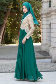 Tesettürlü Abiye Elbise - Gold Dantelli Yeşil Abiye Elbise - Thumbnail
