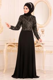 Tesettürlü Abiye Elbise - Gold Etek / Bluz Tesettür Abiye Takım 37220GOLD - Thumbnail
