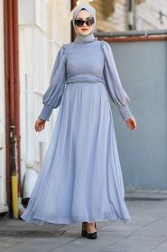 Tesettürlü Abiye Elbise - Gri Tesettür Abiye Elbise 22174GR - Thumbnail