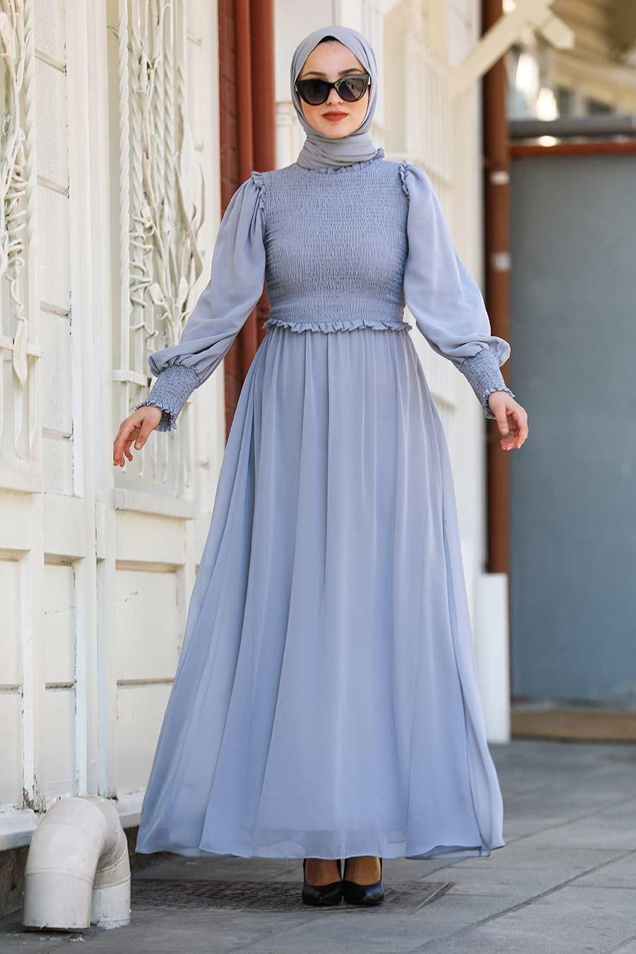Tesettürlü Abiye Elbise - Gri Tesettür Abiye Elbise 22174GR