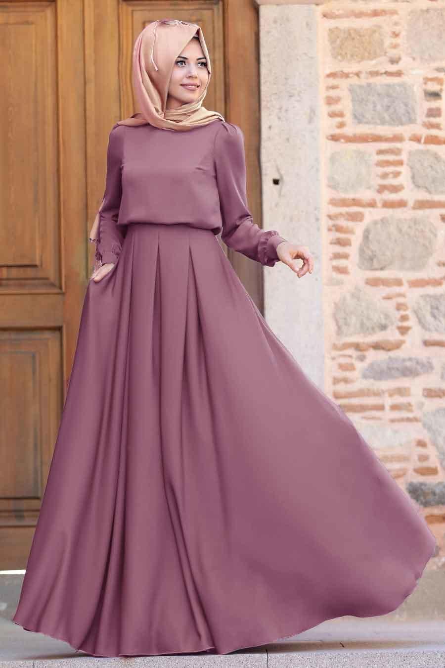 Tesettürlü Abiye Elbise - Gülce Gül Kurusu Tesettür Abiye Elbise 6753GK