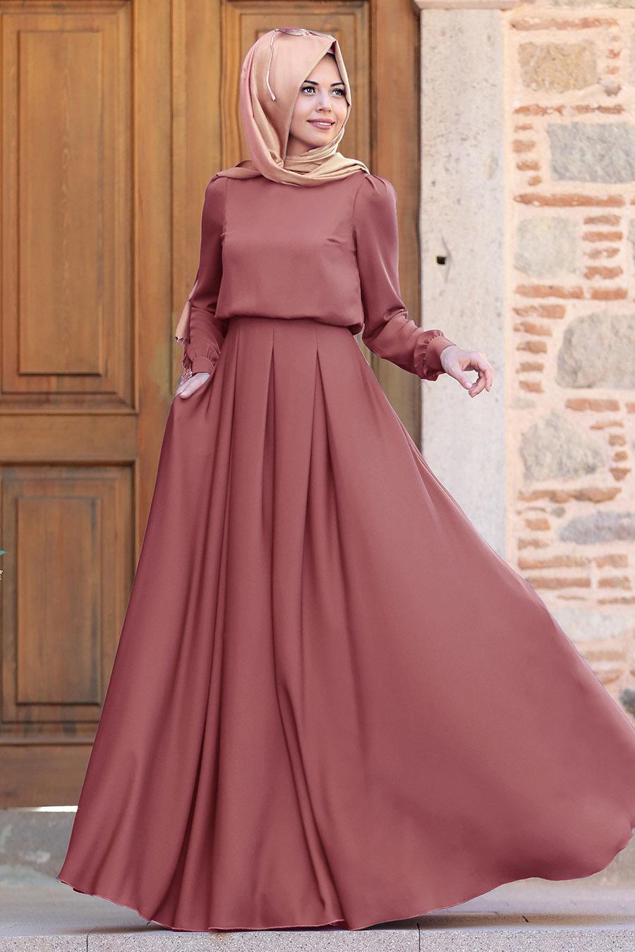 Tesettürlü Abiye Elbise - Gülce Kiremit Tesettür Abiye Elbise 6753KRMT