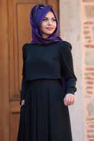 Tesettürlü Abiye Elbise - Gülce Siyah Tesettür Abiye Elbise 6753S - Thumbnail