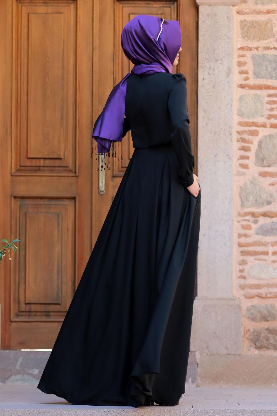 Tesettürlü Abiye Elbise - Gülce Siyah Tesettür Abiye Elbise 6753S