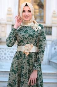 Tesettürlü Abiye Elbise - Hakim Yaka Kemerli Yeşil Abiye Elbise - Thumbnail