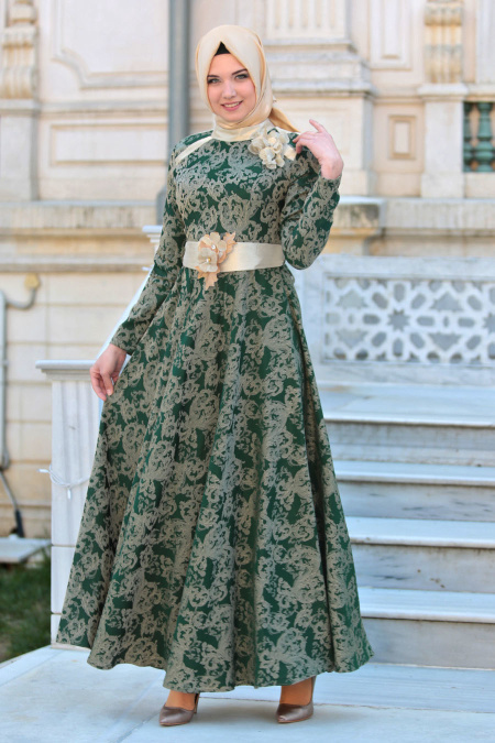 Tesettürlü Abiye Elbise - Hakim Yaka Kemerli Yeşil Abiye Elbise