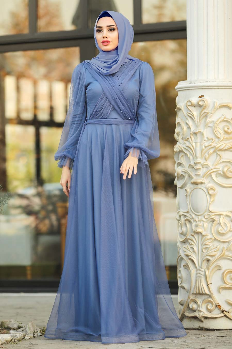 Tesettürlü Abiye Elbise - İnci Detaylı İndigo Mavisi Tesettür Abiye Elbise 2140IM