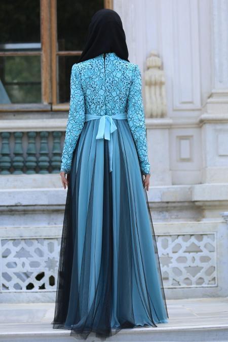Tesettürlü Abiye Elbise - İnci Kemerli Dantel Detaylı Turkuaz Abiye Elbise 7583TR