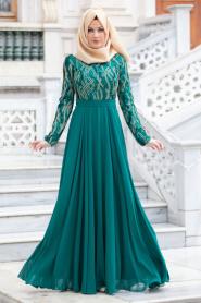 Tesettürlü Abiye Elbise - İşlemeli Yeşil Abiye Elbise - Thumbnail