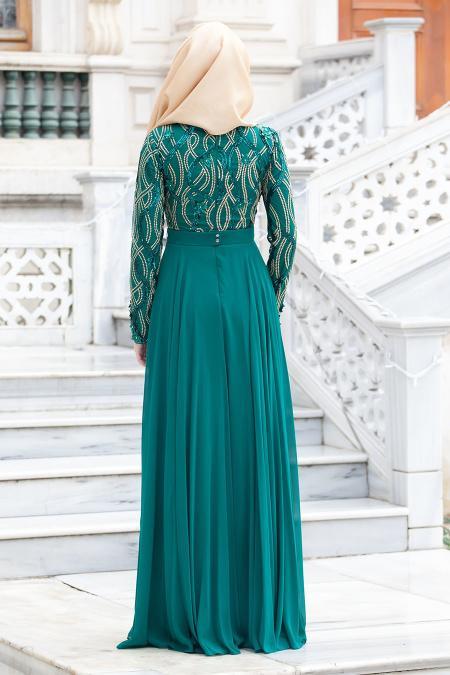 Tesettürlü Abiye Elbise - İşlemeli Yeşil Abiye Elbise