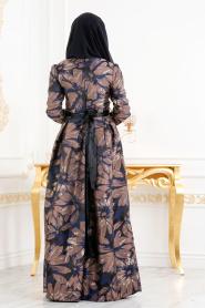 Tesettürlü Abiye Elbise - Jakarlı Çiçek Desenli Kahverengi Tesettürlü Abiye Elbise 82459KH - Thumbnail