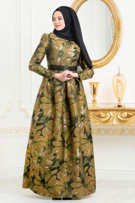 Tesettürlü Abiye Elbise - Jakarlı Çiçek Desenli Petrol Yeşili Tesettürlü Abiye Elbise 82459PY