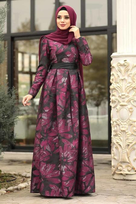 Tesettürlü Abiye Elbise - Jakarlı Çiçek Desenli Siyah Tesettürlü Abiye Elbise 82459S