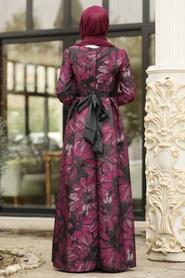 Tesettürlü Abiye Elbise - Jakarlı Çiçek Desenli Siyah Tesettürlü Abiye Elbise 82459S - Thumbnail