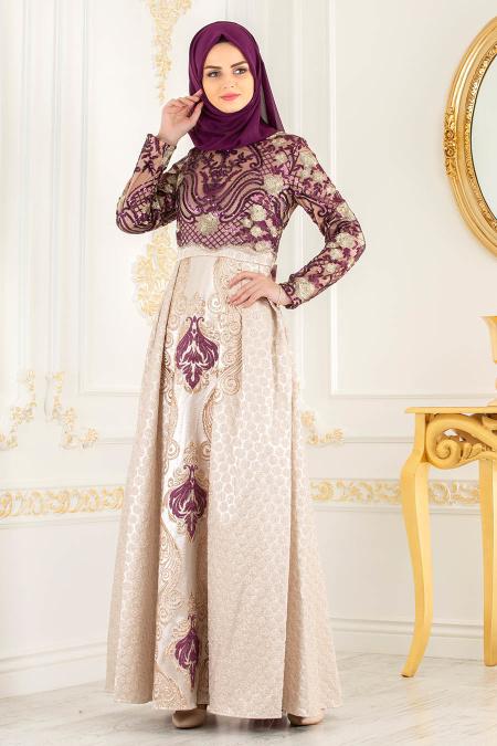 Tesettürlü Abiye Elbise - Jakarlı Dantel Detaylı Mor Tesettürlü Abiye Elbise 31001MOR