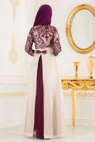 Tesettürlü Abiye Elbise - Jakarlı Dantel Detaylı Mor Tesettürlü Abiye Elbise 31001MOR - Thumbnail