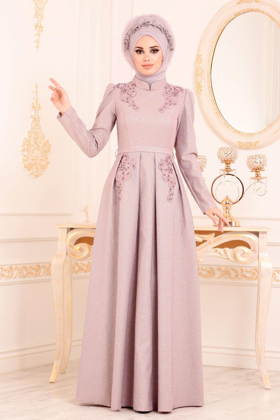 Tesettürlü Abiye Elbise - Karpuz Kol Dantel Detaylı Gül KurusuTesettür Abiye Elbise 36540GK