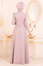Tesettürlü Abiye Elbise - Karpuz Kol Dantel Detaylı Gül KurusuTesettür Abiye Elbise 36540GK - Thumbnail