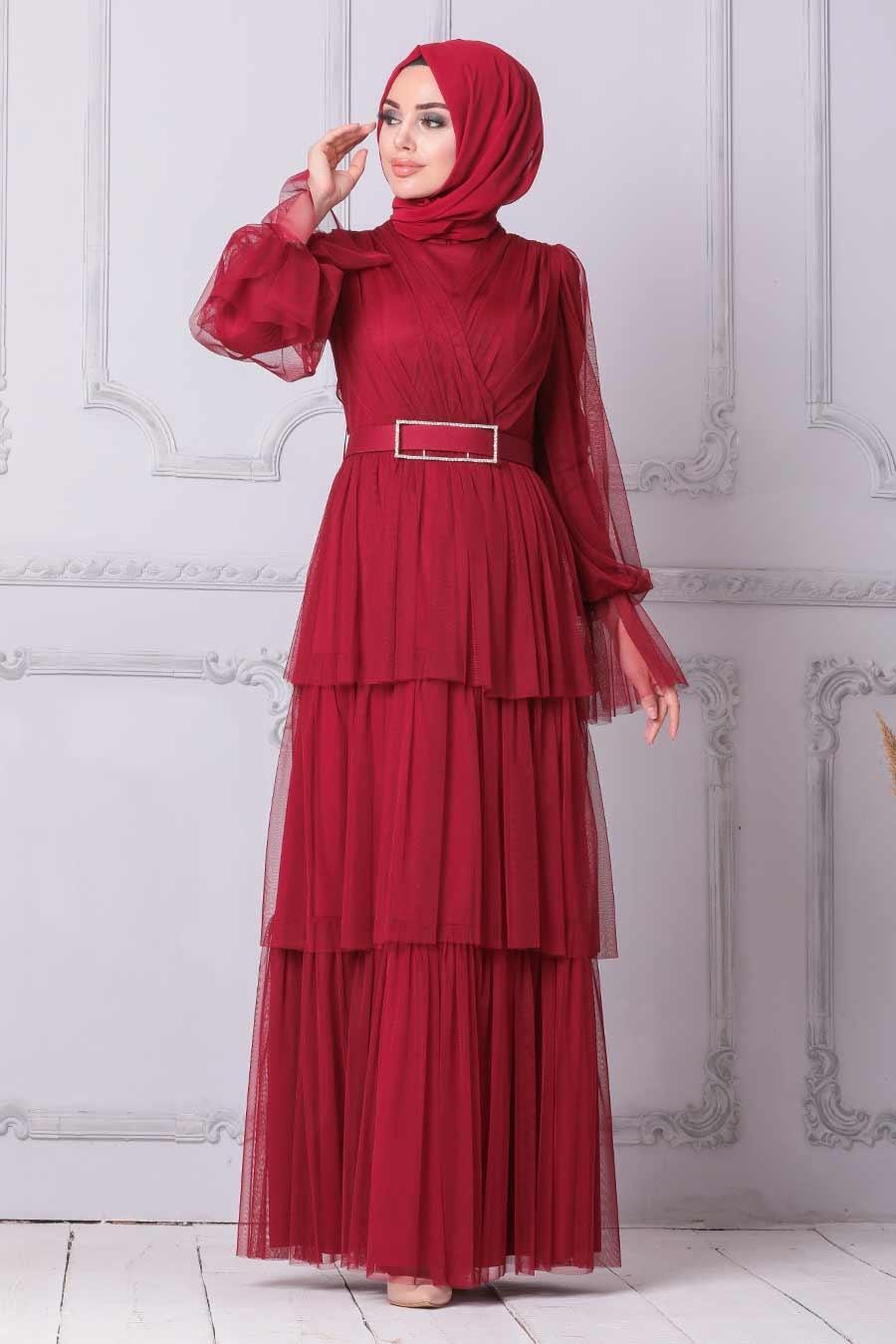 Tesettürlü Abiye Elbise - Kemerli Bordo Tesettür Abiye Elbise 21320BR