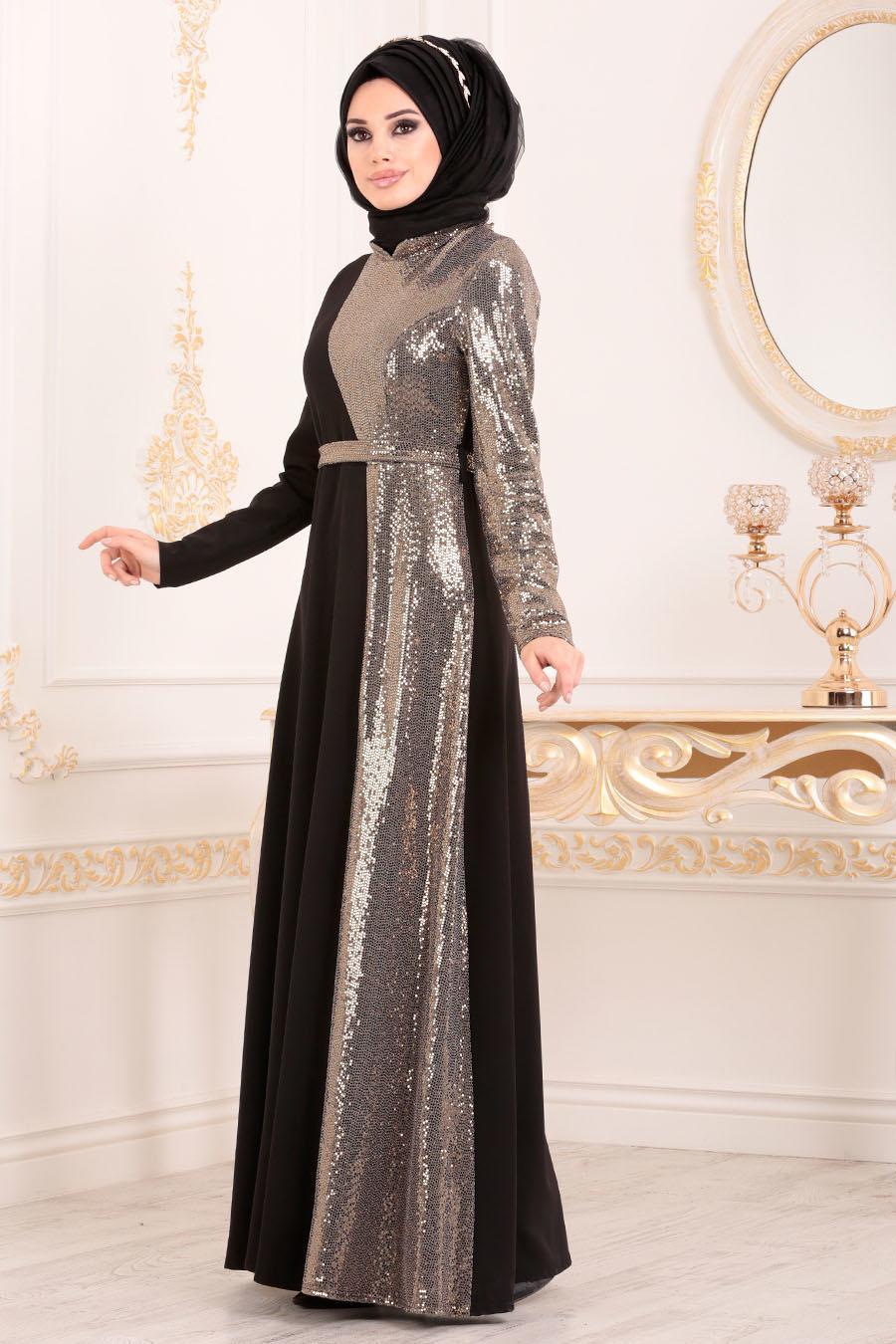 Tesettürlü Abiye Elbise - Kemerli Gold Tesettür Abiye Elbise 1234GOLD