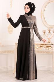 Tesettürlü Abiye Elbise - Kemerli Gold Tesettür Abiye Elbise 1234GOLD - Thumbnail