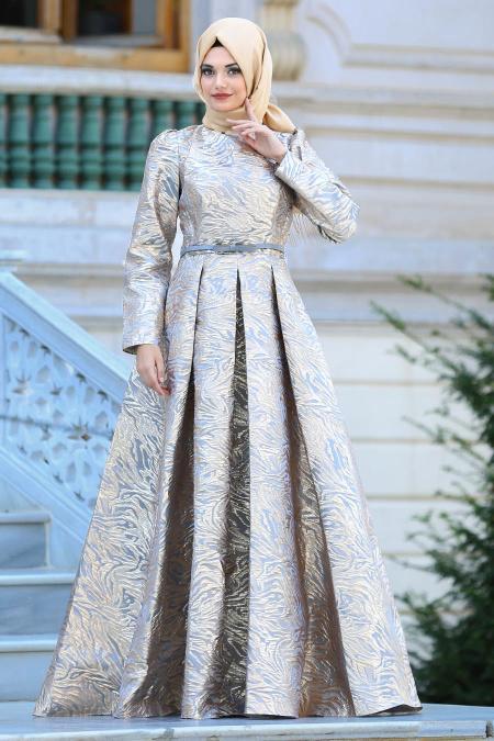 Tesettürlü Abiye Elbise - Kemerli Gri Tesettür Abiye Elbise 44960GR