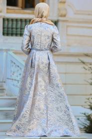 Tesettürlü Abiye Elbise - Kemerli Gri Tesettür Abiye Elbise 44960GR - Thumbnail