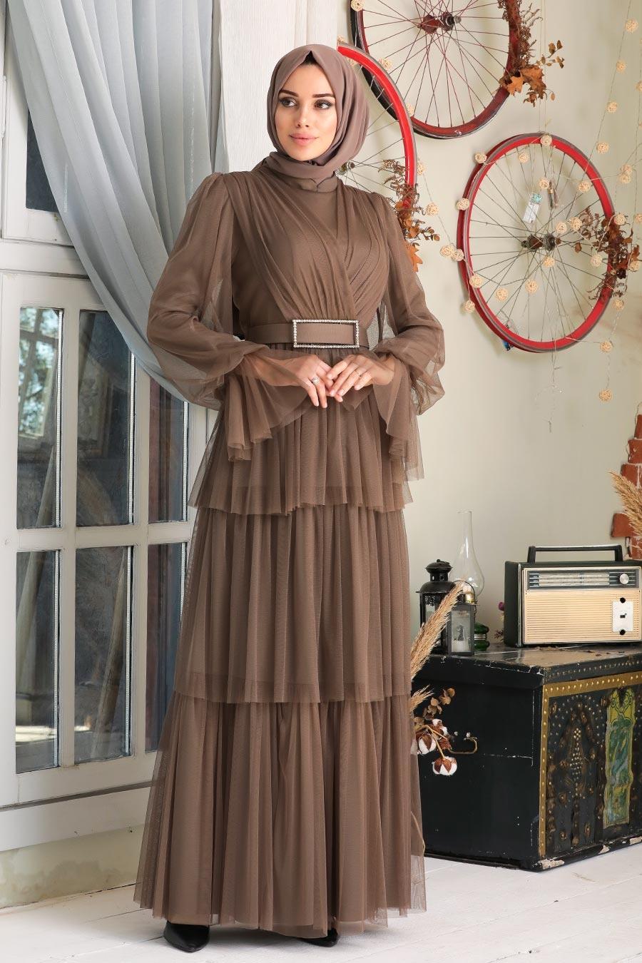 Tesettürlü Abiye Elbise - Kemerli Haki Tesettür Abiye Elbise 21320HK