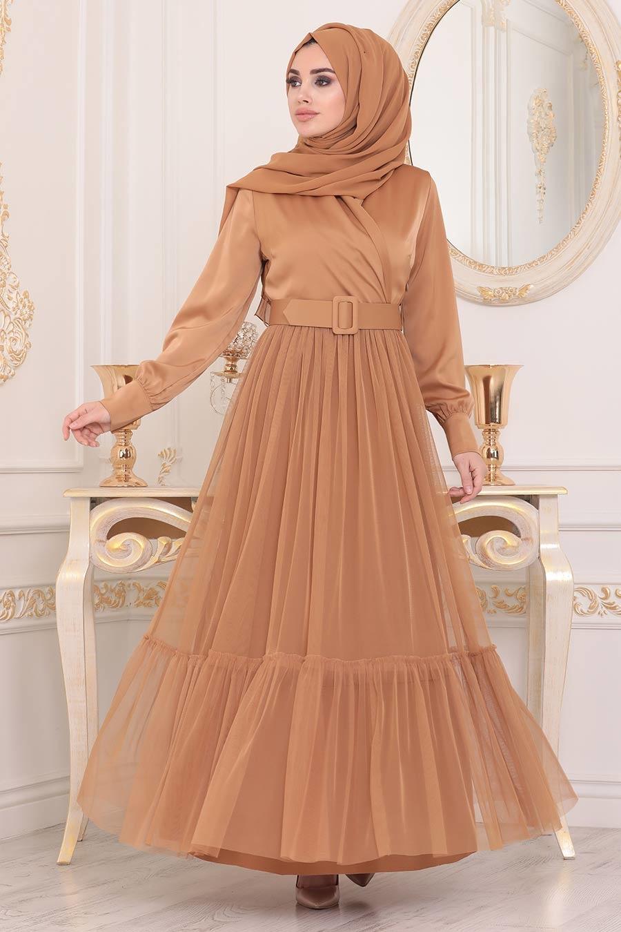 Tesettürlü Abiye Elbise - Kemerli Hardal Tesettür Abiye Elbise 22171HR