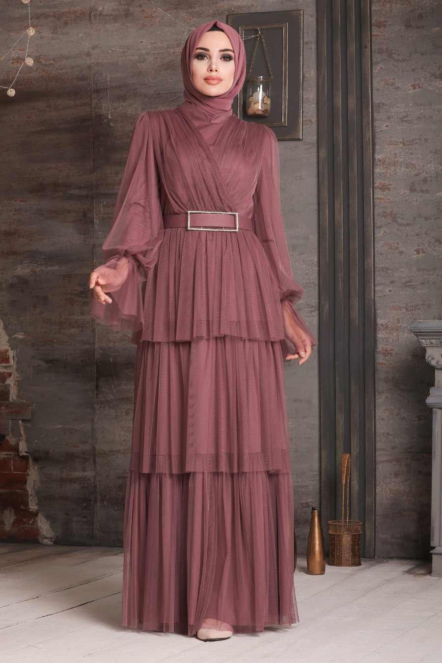 Tesettürlü Abiye Elbise - Kemerli Koyu Gül Kurusu Tesettür Abiye Elbise 21320KGK