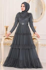 Tesettürlü Abiye Elbise - Kemerli Petrol Yeşili Tesettür Abiye Elbise 4097PY - Thumbnail