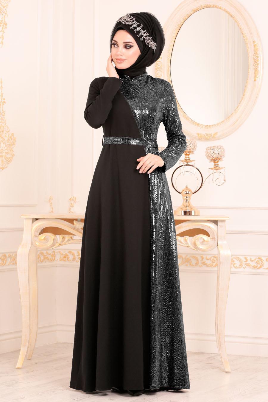 Tesettürlü Abiye Elbise - Kemerli Siyah Tesettür Abiye Elbise 1234S