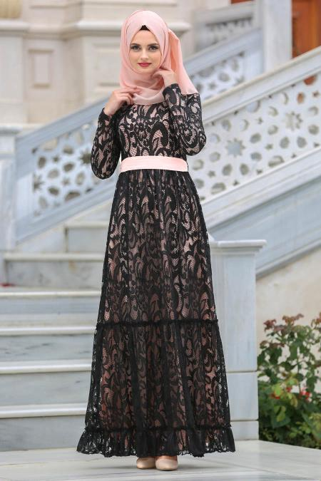 Tesettürlü Abiye Elbise - Kemerli Somon Tesettür Abiye Elbise 7790SMN