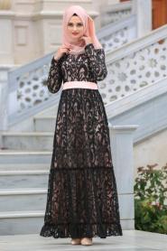 Tesettürlü Abiye Elbise - Kemerli Somon Tesettür Abiye Elbise 7790SMN - Thumbnail