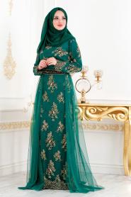 Tesettürlü Abiye Elbise - Kemerli Tül Detaylı Yeşil Tesettür Abiye Elbise 6370Y - Thumbnail